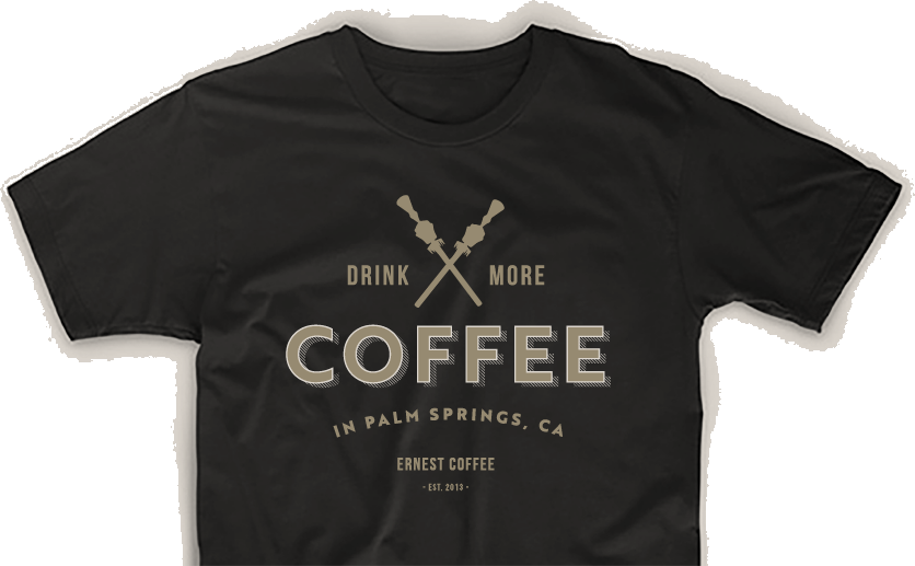 T-shirt with Ernest Coffee's logo