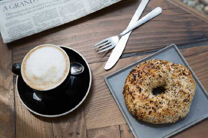 Top-down coffee and bagel