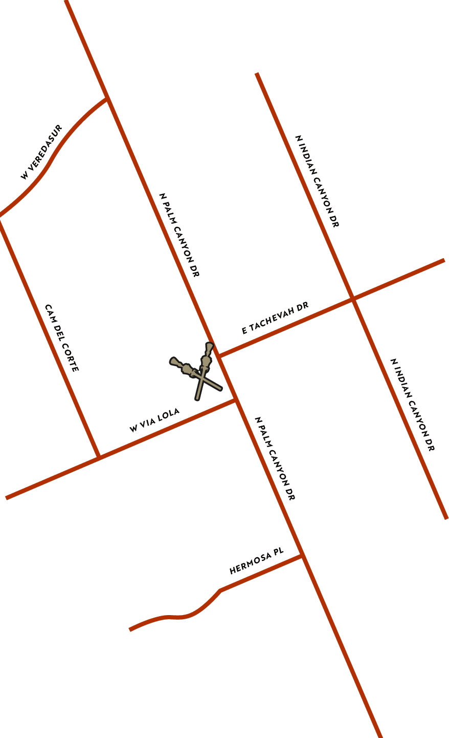 Map showing where Ernest Coffee Palm Springs is located