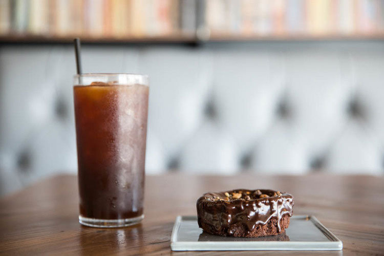 Iced coffee and chocolate pastry