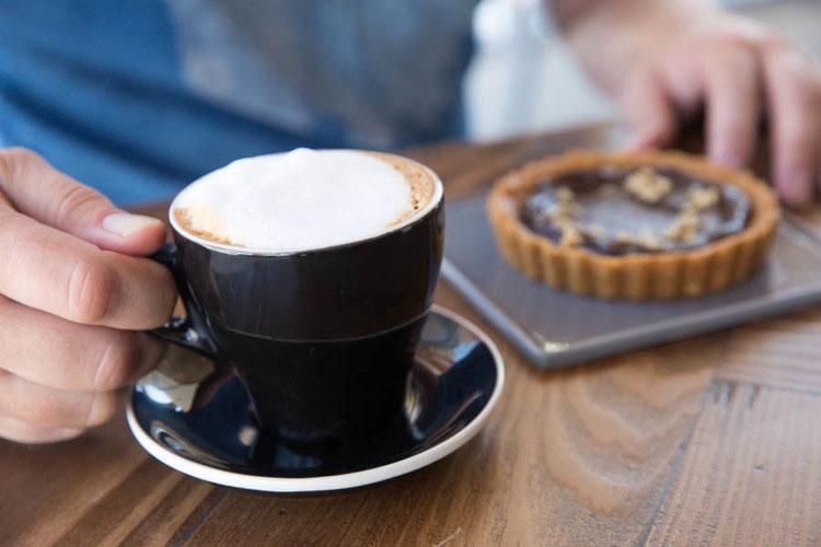 Espresso coffee with tart