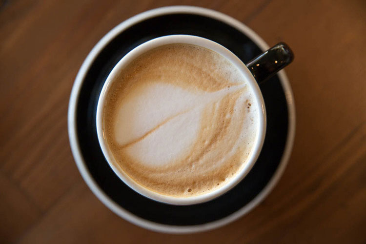 Espresso coffee with leaf art